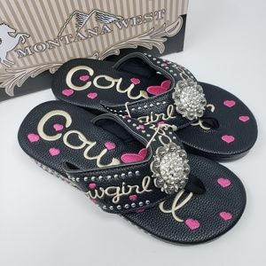 5d4e03438 ... Montana West Fun Novelty Cowgirl Wedge Flip Flops